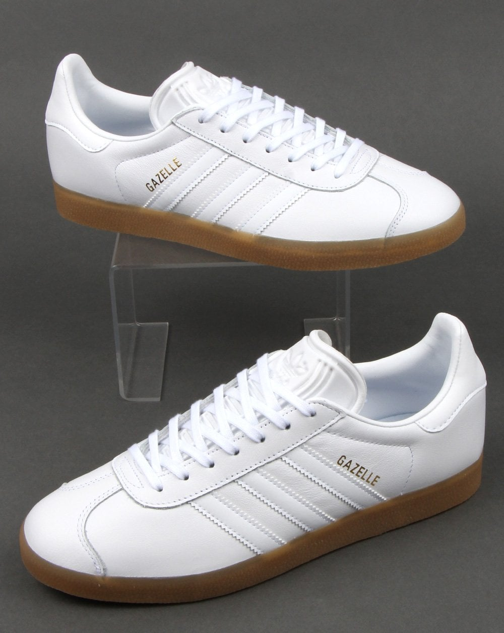 catch watch best supplier Adidas Gazelle Trainers White Leather - Gum