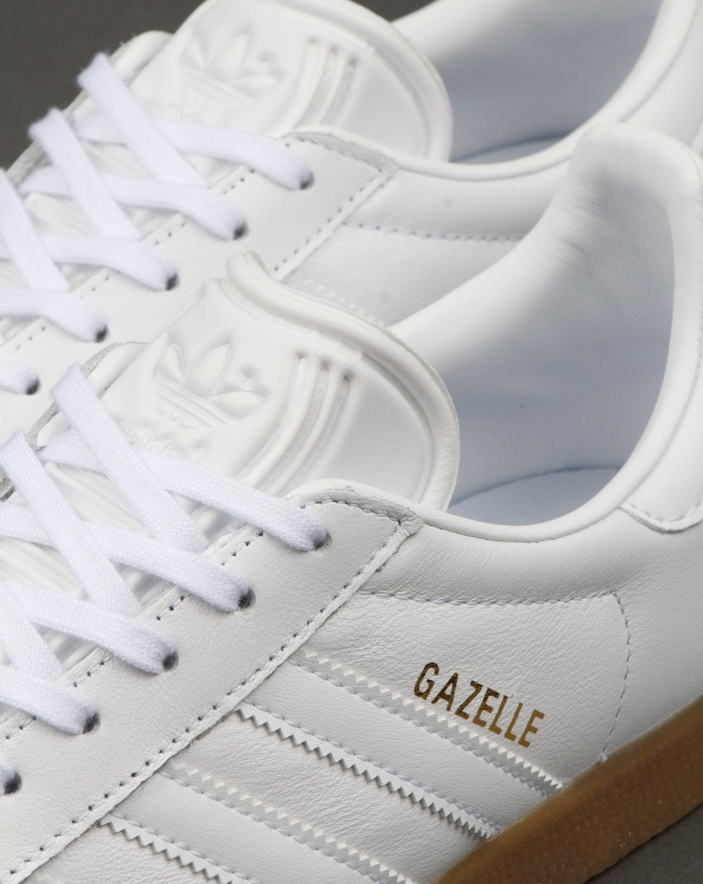 adidas Originals White Leather Gazelle Trainers With Gum Sole