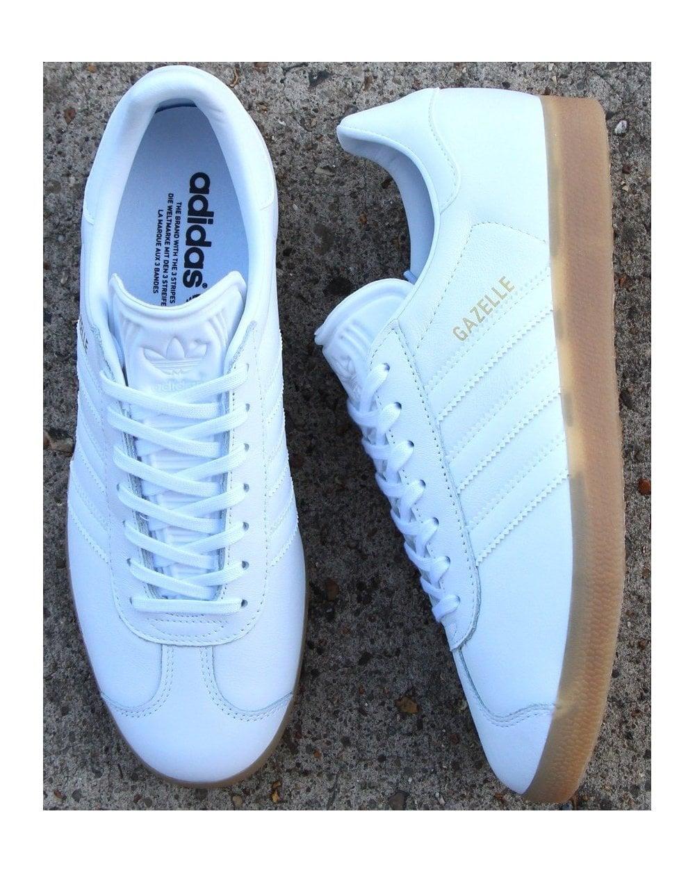 Adidas Gazelle Trainers, White, Leather