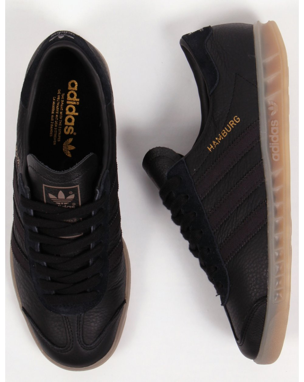 brand new 39ecc b0c41 adidas hamburg black leather