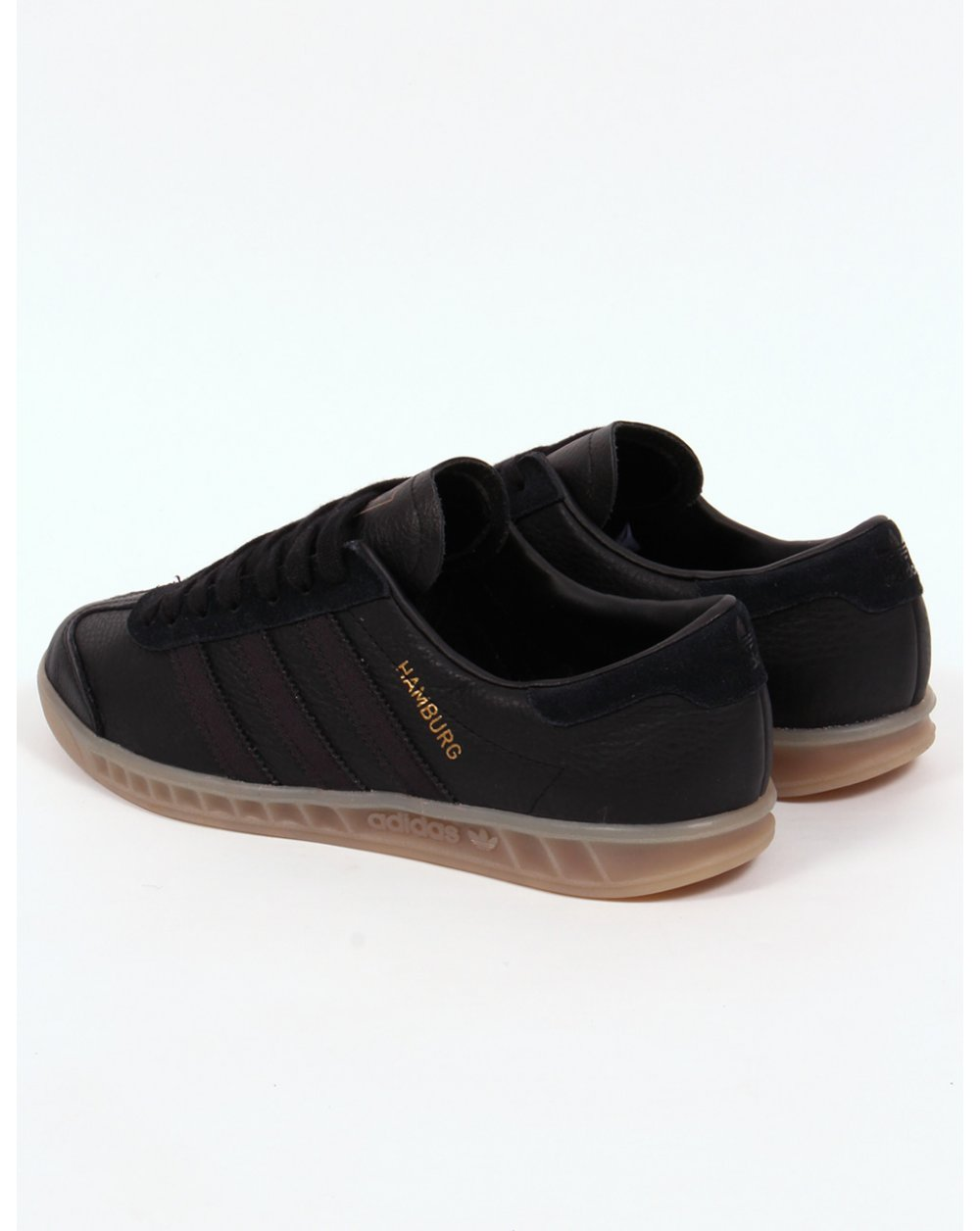 Adidas Hamburg Leather Trainers Black/gum