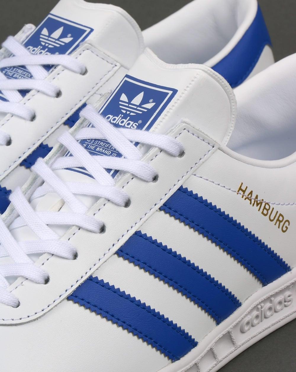 Adidas Hamburg Leather Trainers White/Bold Blue