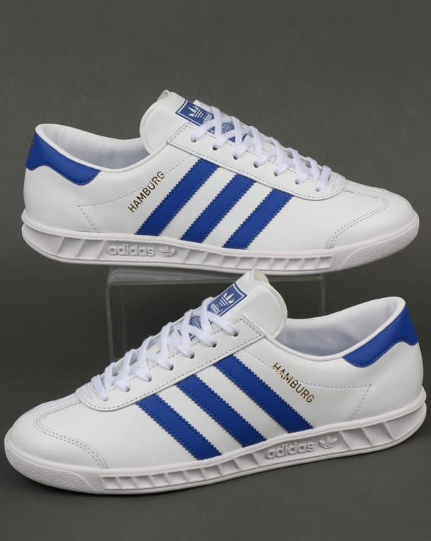 Adidas Hamburg Trainers White Bold Blue Originals Mens