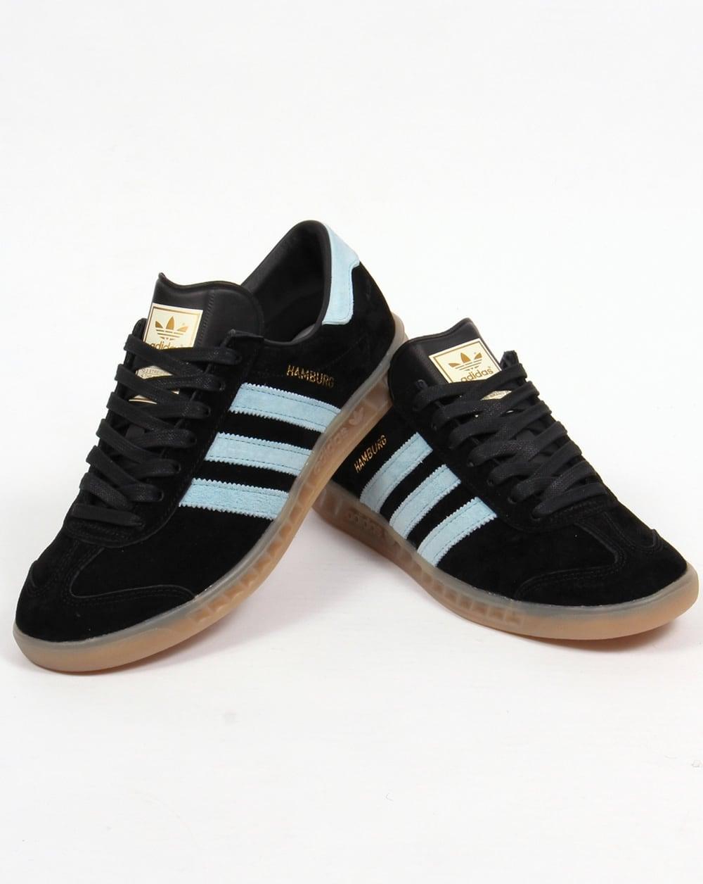 Adidas Hamburg Trainers Black/Blush Blue,originals,shoes ...