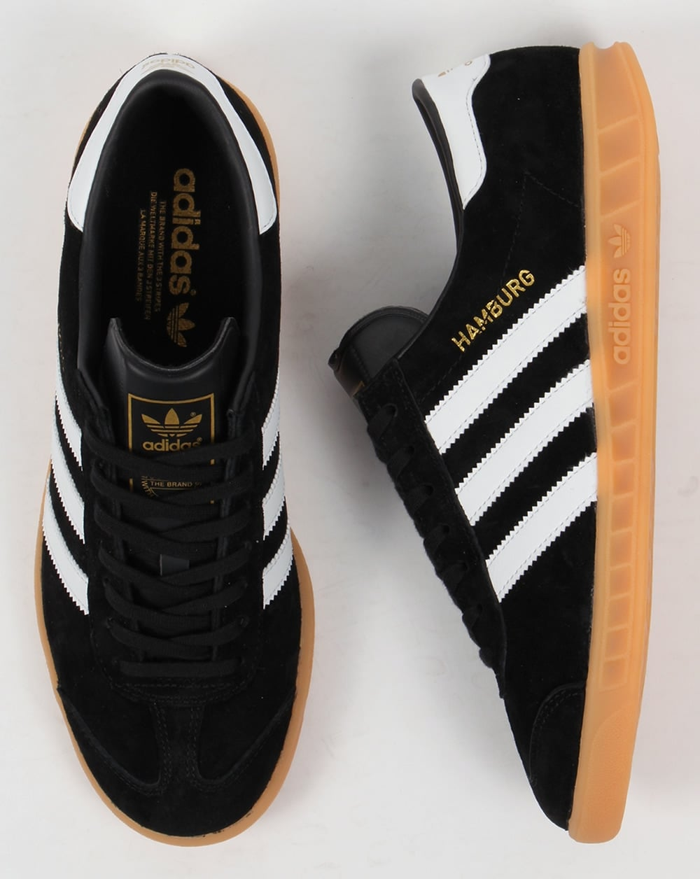 wholesale dealer 87a96 317ce adidas hamburg black gum