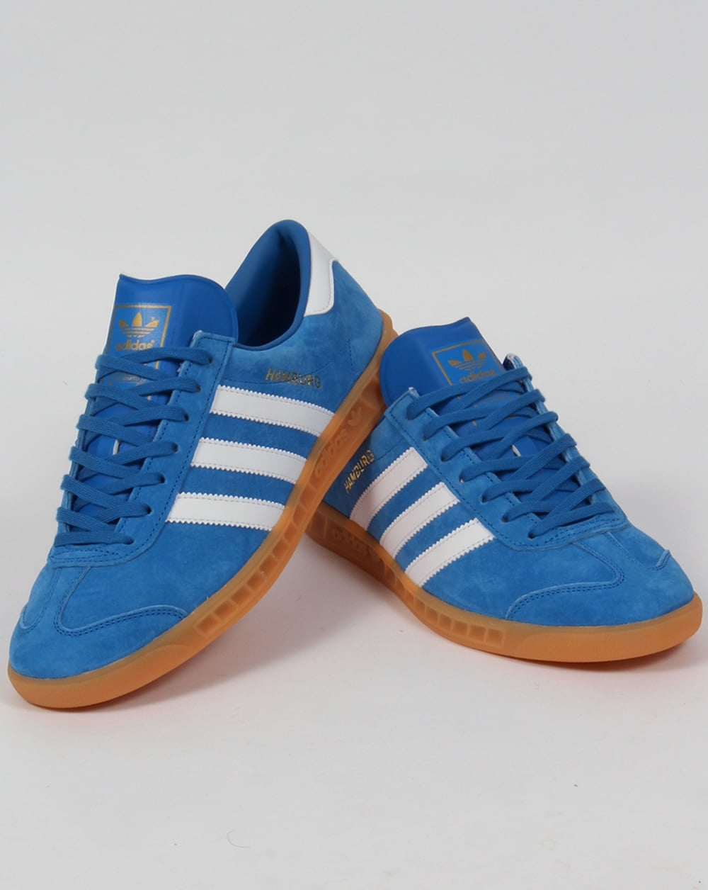 adidas white & blue gazelle trainers