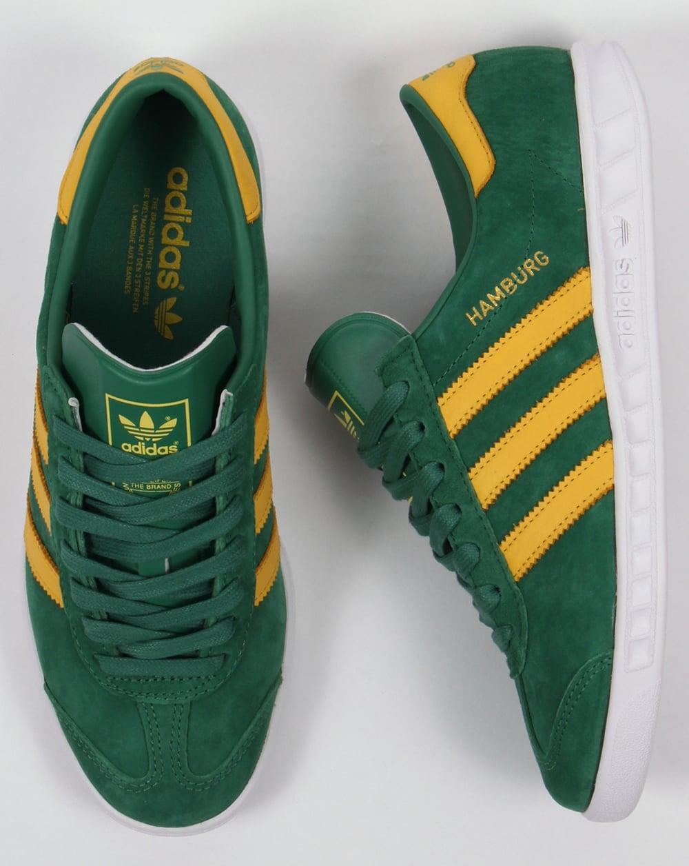 Adidas Hamburg Trainers Green Yellow White e8a56dea3