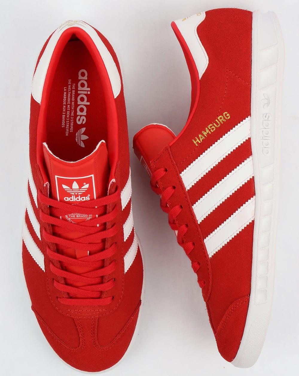 adidas amburgo formatori rosso / bianco, originali, scarpe, mens, scarpe da ginnastica