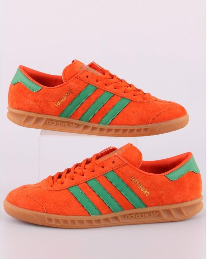 Adidas Hamburg Trainers Vibrant Orange/ Green