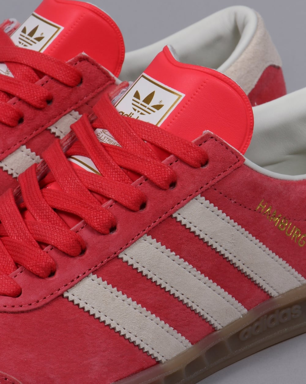 white and red adidas hamburg trainers