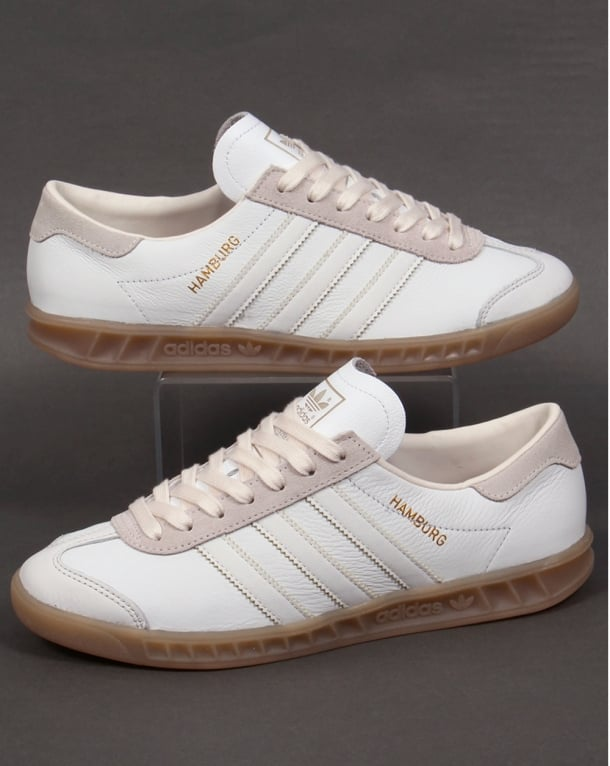 Adidas Hamburg White Leather Trainers gum sole