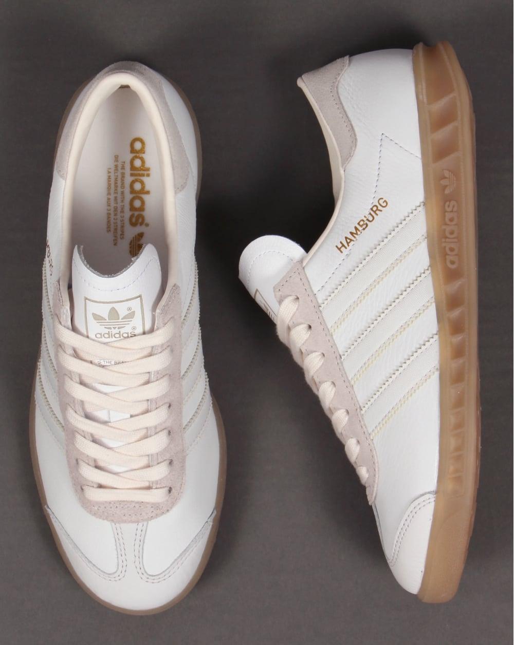 Adidas Hamburg White Trainers, Leather