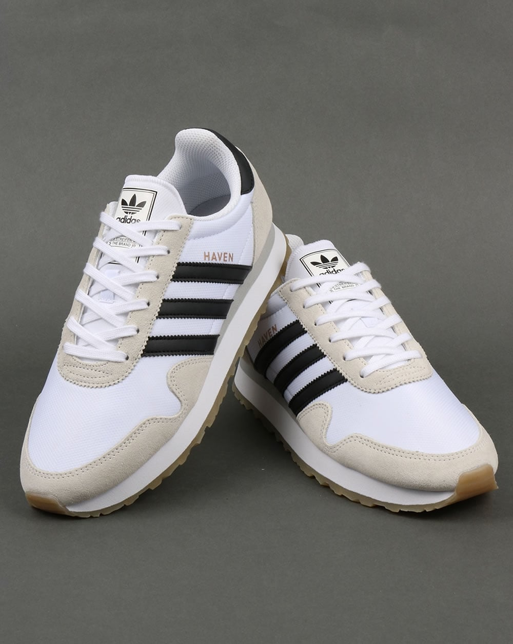Adidas Haven Trainers White/Black/Gum,originals,runner ...