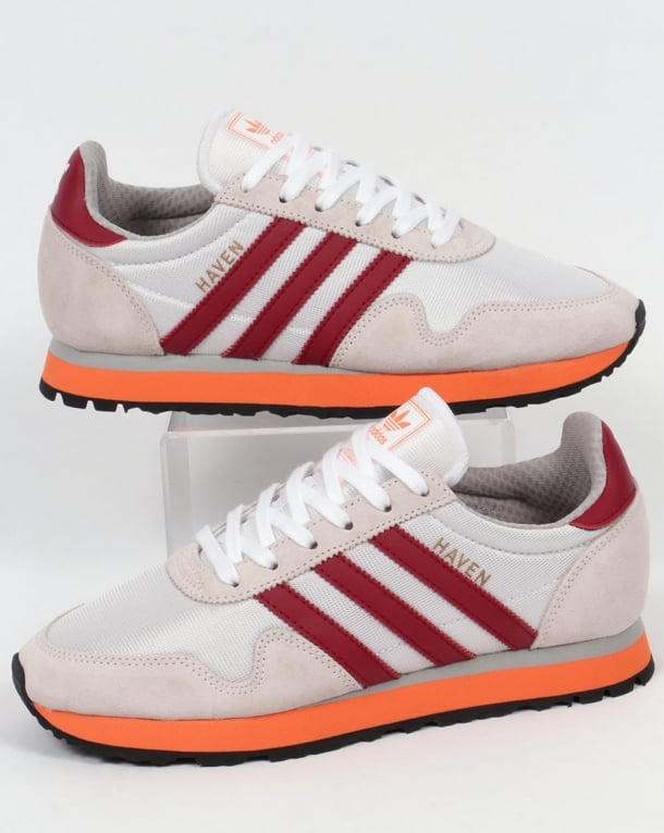 Buen sentimiento Marchito agrio  Adidas Haven Trainers White/Burgundy/Orange,originals,shoes,runners