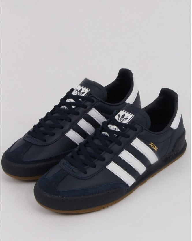 Adidas Jeans Leather Trainers Navy white d2f161aee0e3