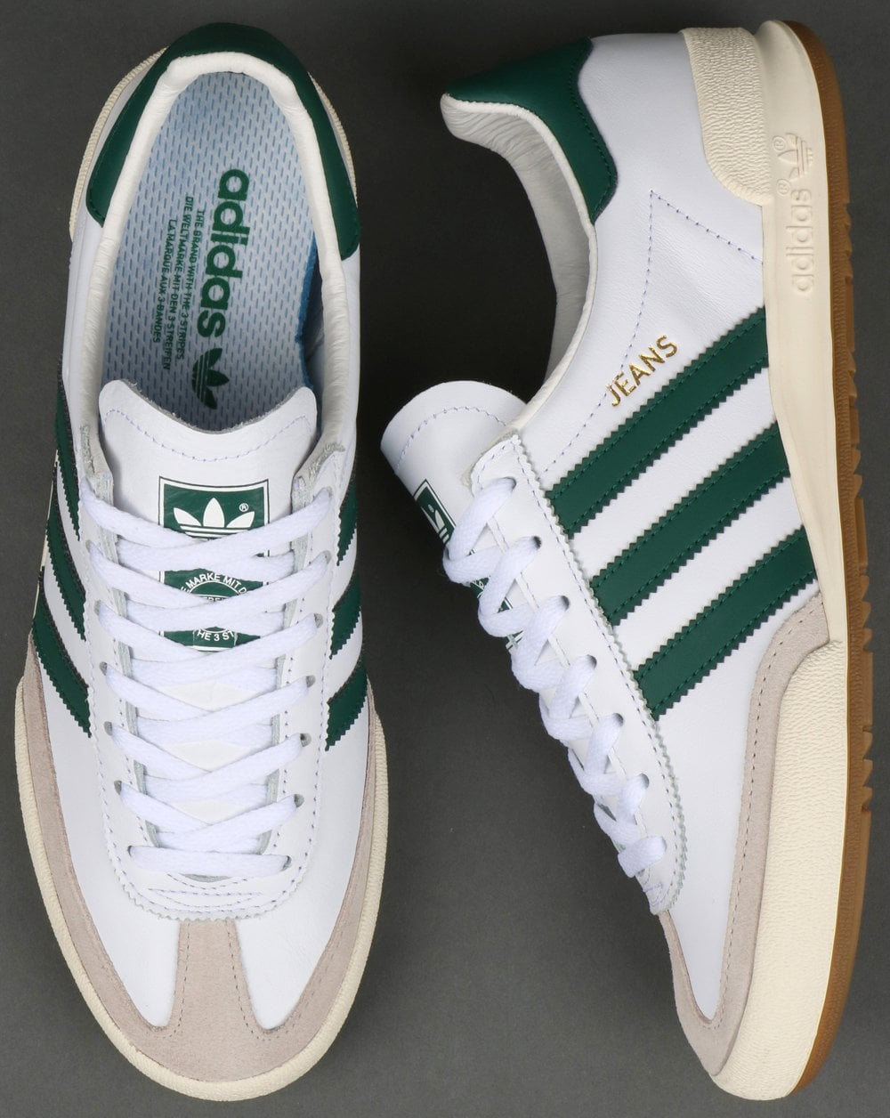 ad5e26d876 Adidas Jeans Leather Trainers White Green