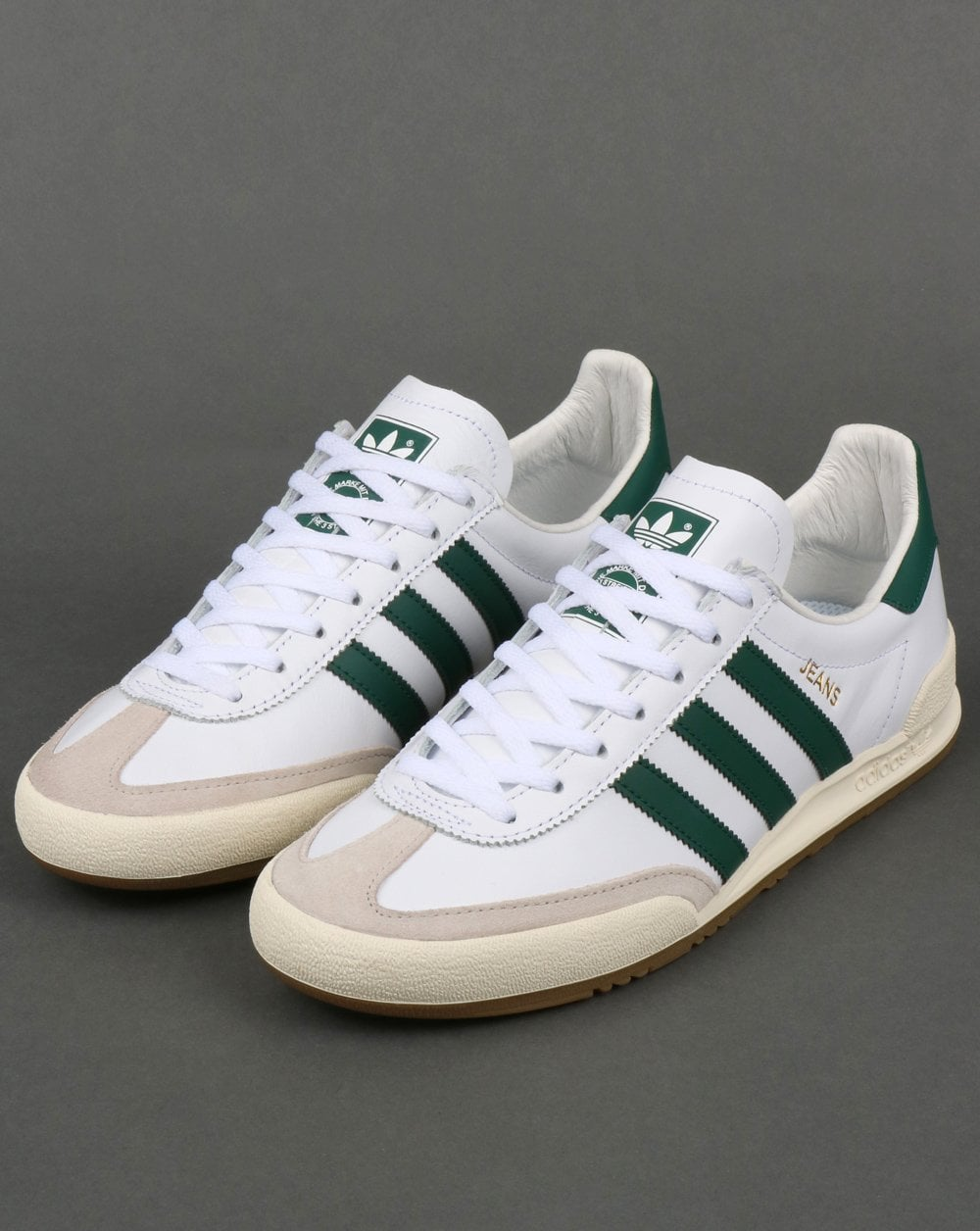 6e7cde016b7c Adidas Jeans Leather Trainers White Green