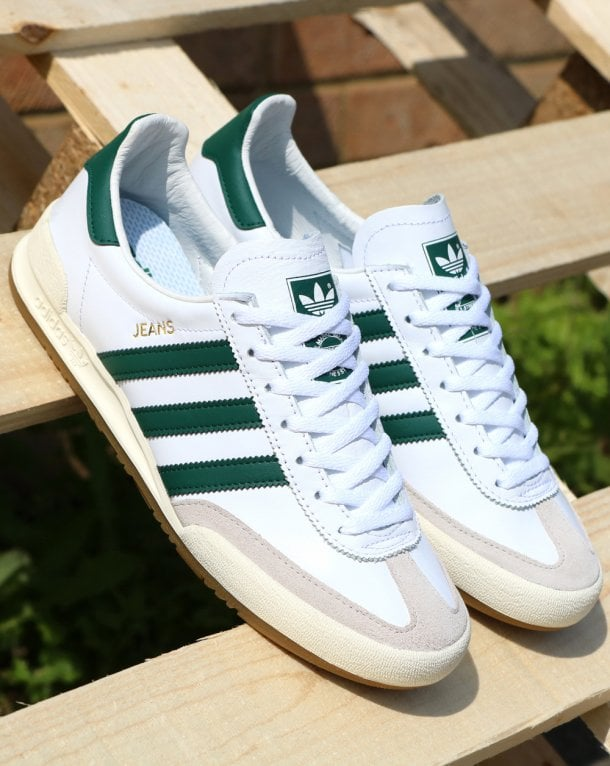 adidas Trainers Adidas Jeans Leather Trainers White Green 965732316242