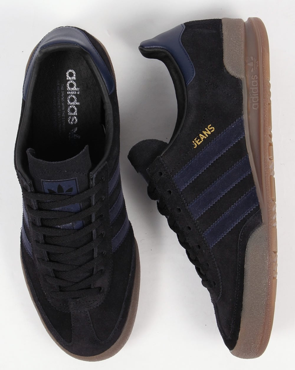 black adidas jeans trainers men
