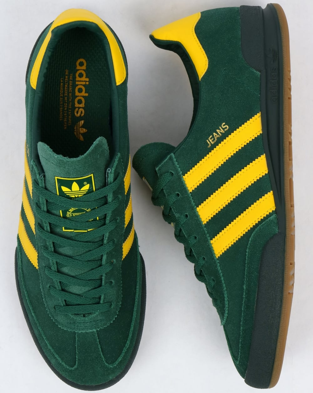 low priced cute cheap hot sales Adidas Jeans Trainers Mk2 Green/Yellow