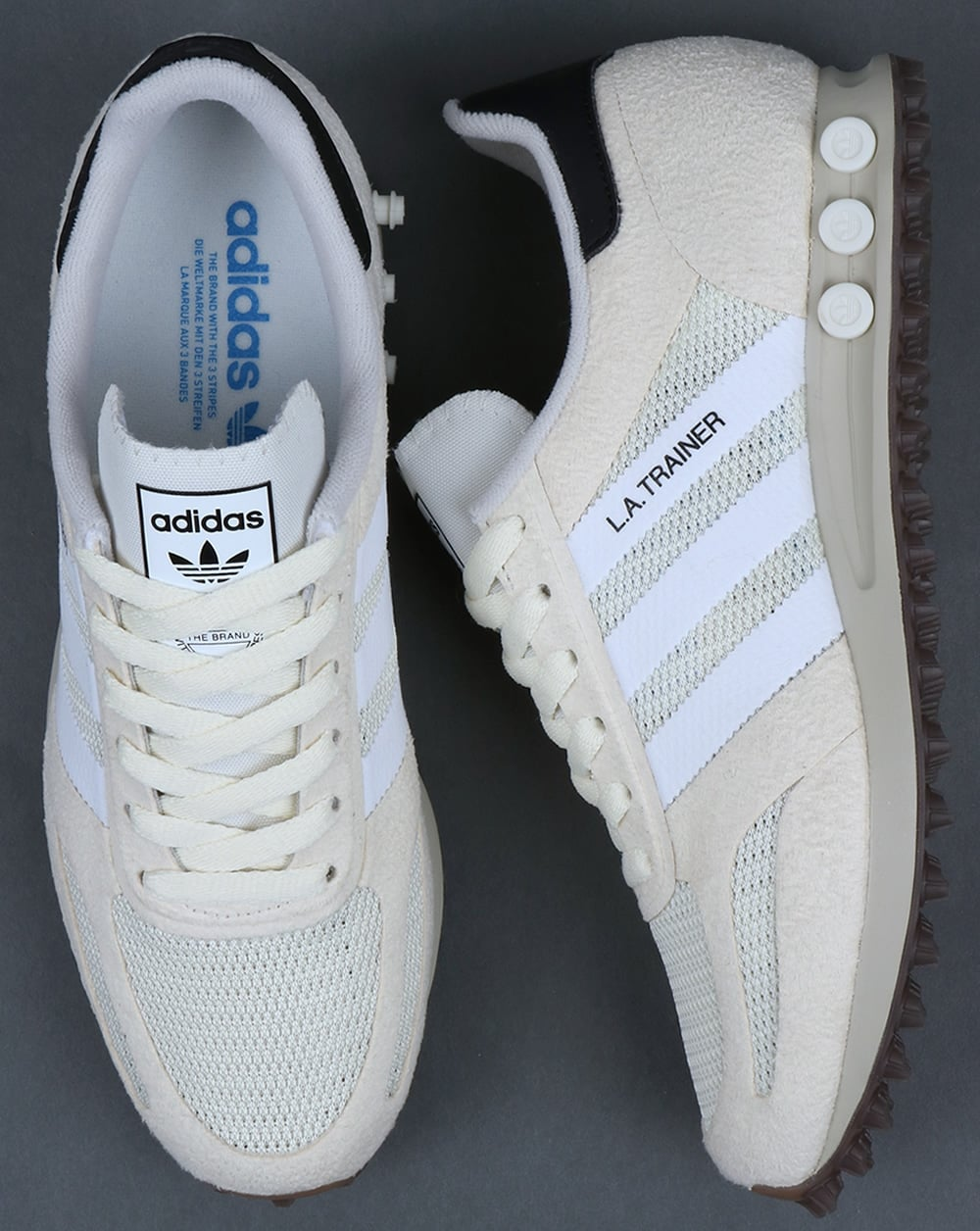 low priced 00713 164bb adidas Trainers Adidas La Trainer OG Trainers Off White White Gum
