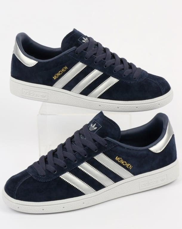 Adidas Munchen Trainers Navy Blue/Silver