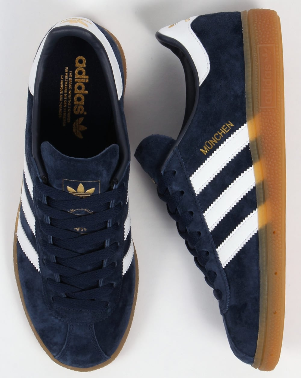 Adidas Munchen Trainers Navy/White,shoes,blue,originals
