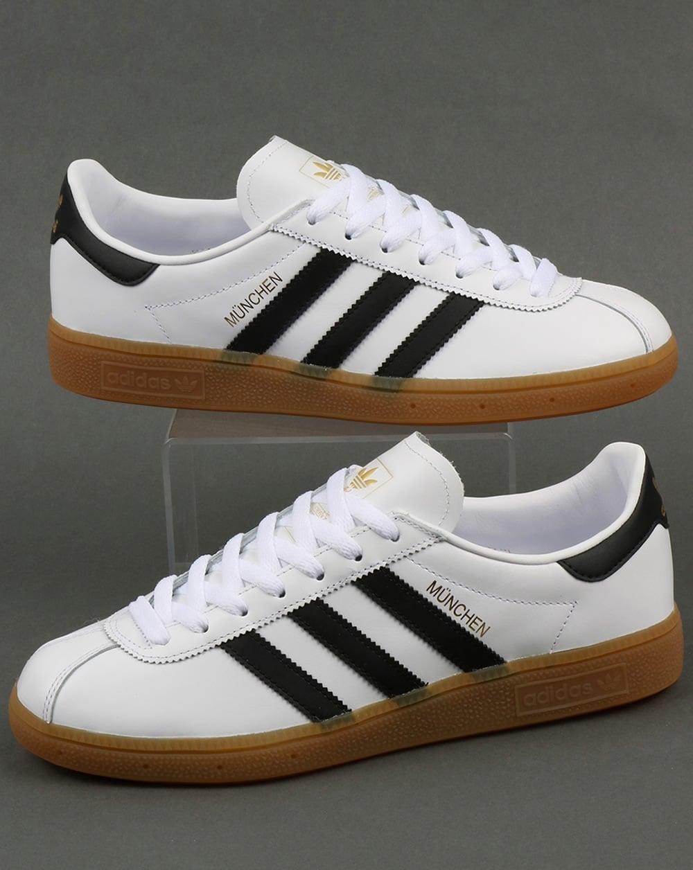 Esplendor apetito El actual  Adidas Munchen Trainers White/Black,leather,originals,shoes,mens