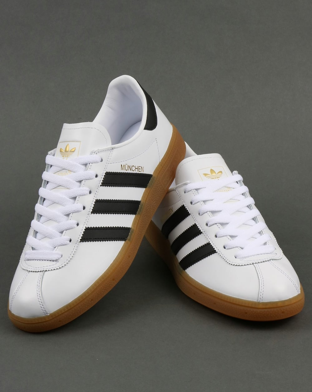 adidas munchen trainers white black leather originals shoes mens. Black Bedroom Furniture Sets. Home Design Ideas