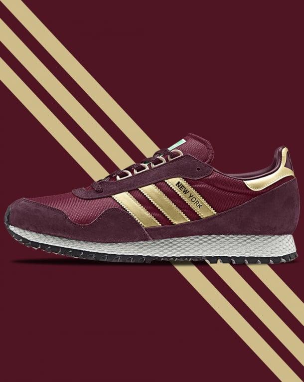 Adidas New York Trainers Burgundy/Gold