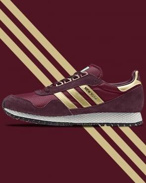 adidas Trainers Adidas New York Trainers Burgundy/Gold