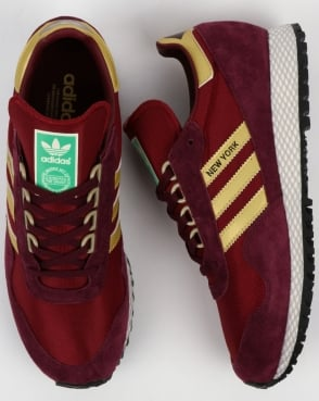 adidas Trainers Adidas New York Trainers Burgundy/Gold