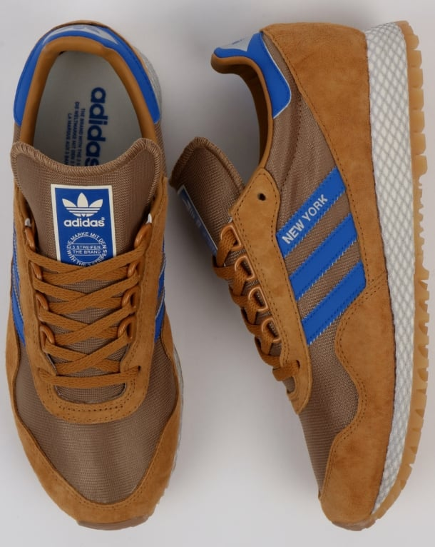 Adidas New York Trainers Rich Tan/Blue