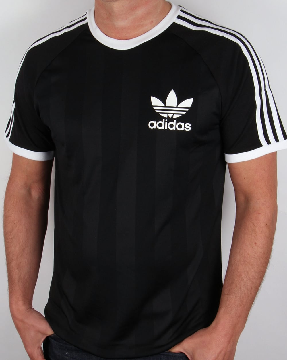 Adidas retro t shirt black tee 3 stripes old skool original for Adidas lotus t shirt