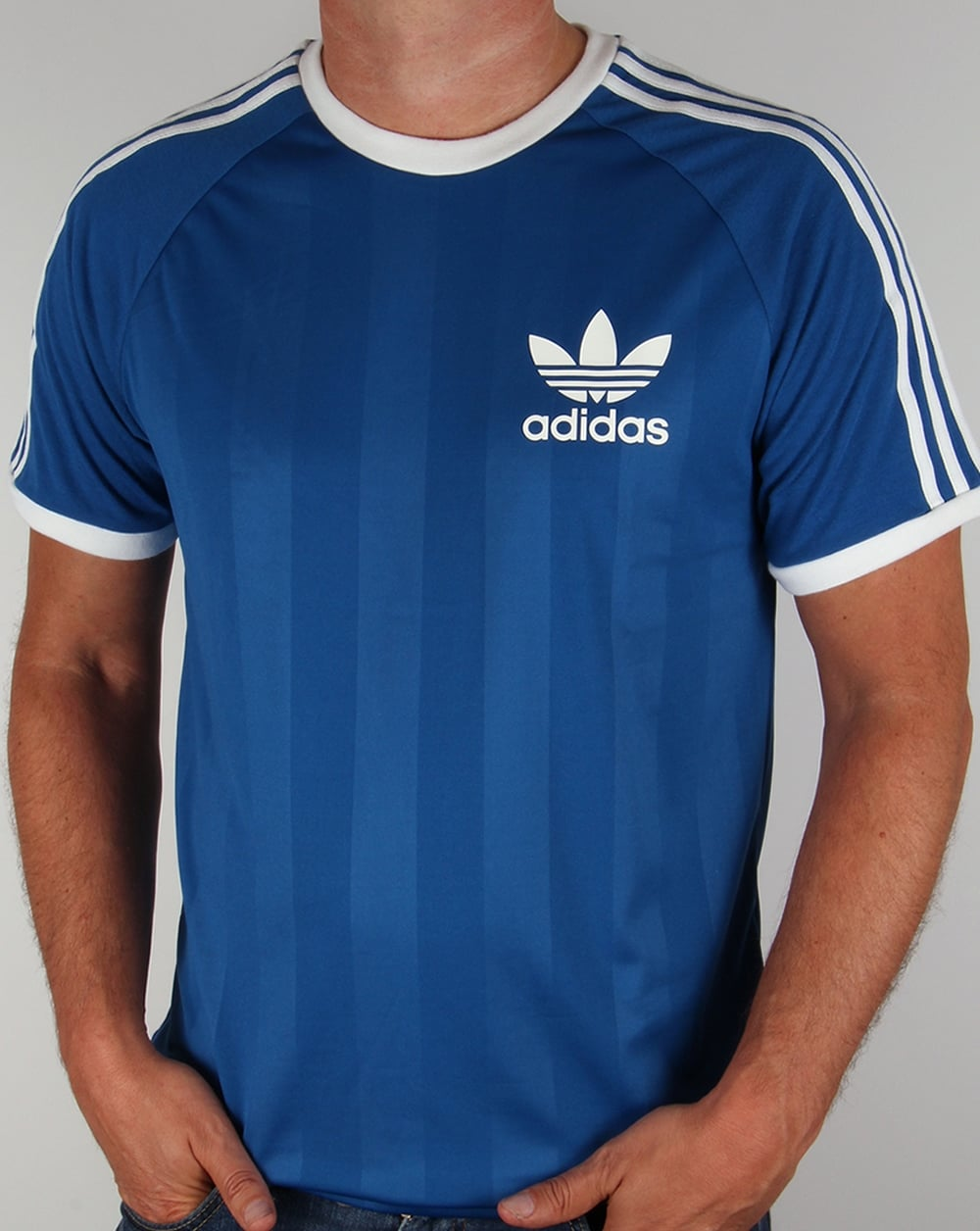 Adida old skool t shirt royal blue 3 stripe football for Adidas ringer t shirt