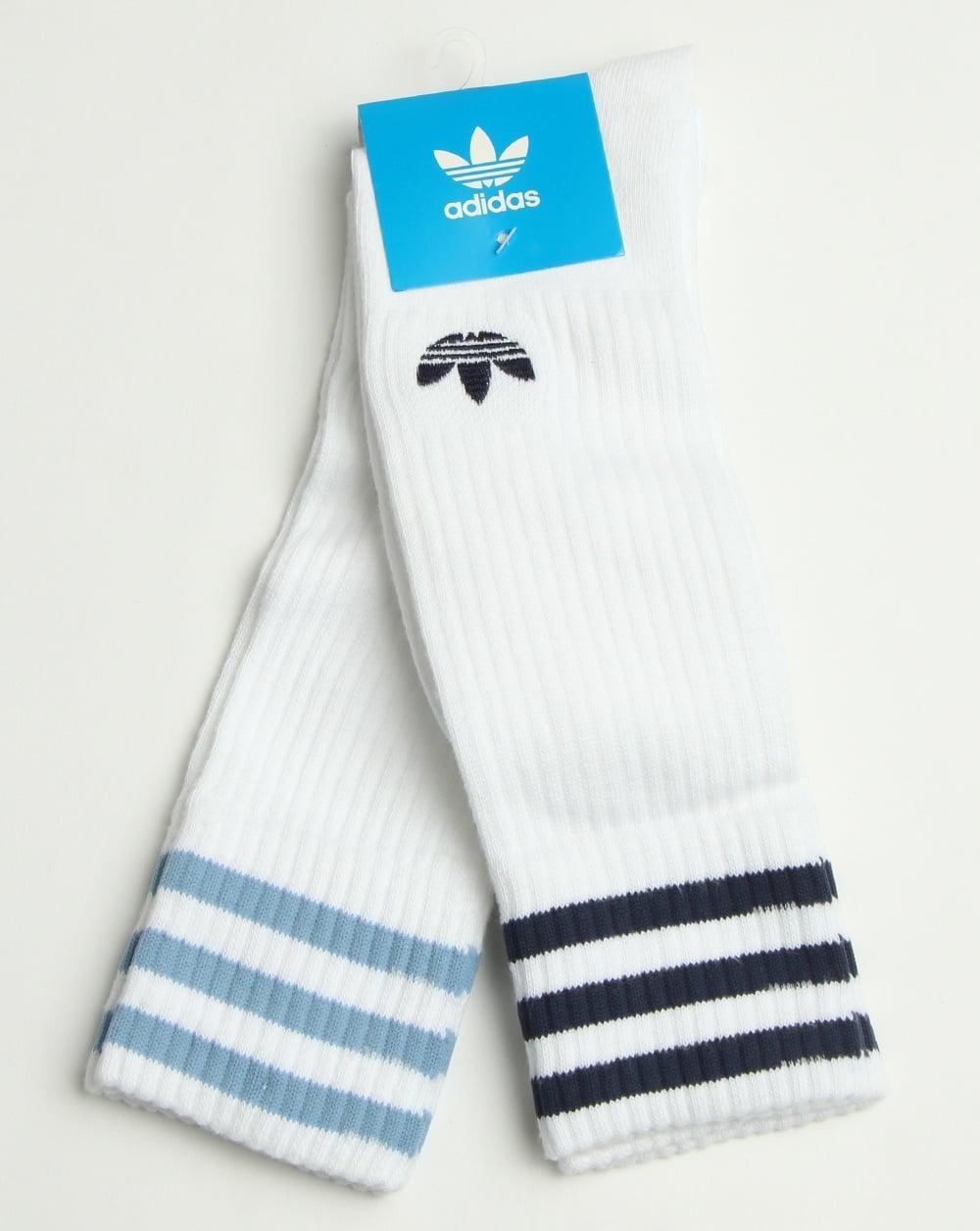 67e790660b89b7 adidas Originals Adidas Originals 2 Pack Crew Socks White blue