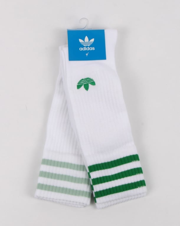 Adidas Originals 2 Pack Crew Socks White/green