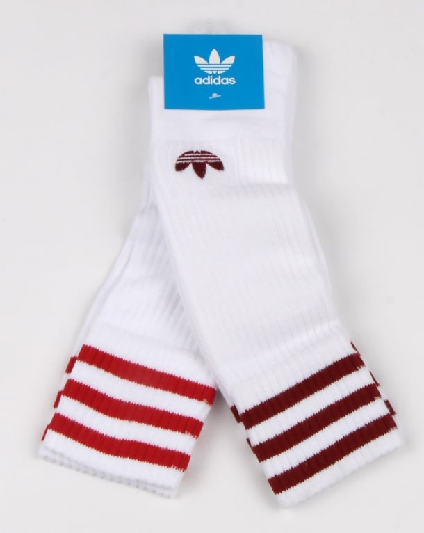 Adidas Originals 2 Pack Crew Socks White Red Mens Cotton Trefoil