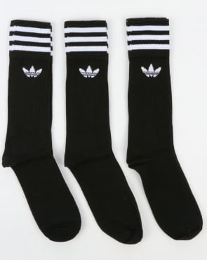 Adidas Originals 3 Pack Crew Socks Black/White