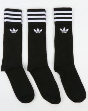 Adidas Originals 3 Pack Crew Socks Black/White