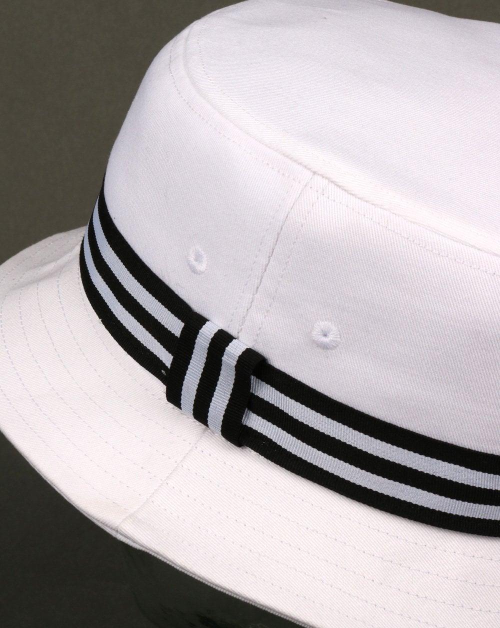 Adidas Originals 3 Stripe Band Bucket Hat White black f018c058a35c