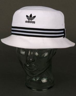 Adidas Originals 3 Stripe Band Bucket Hat White/black