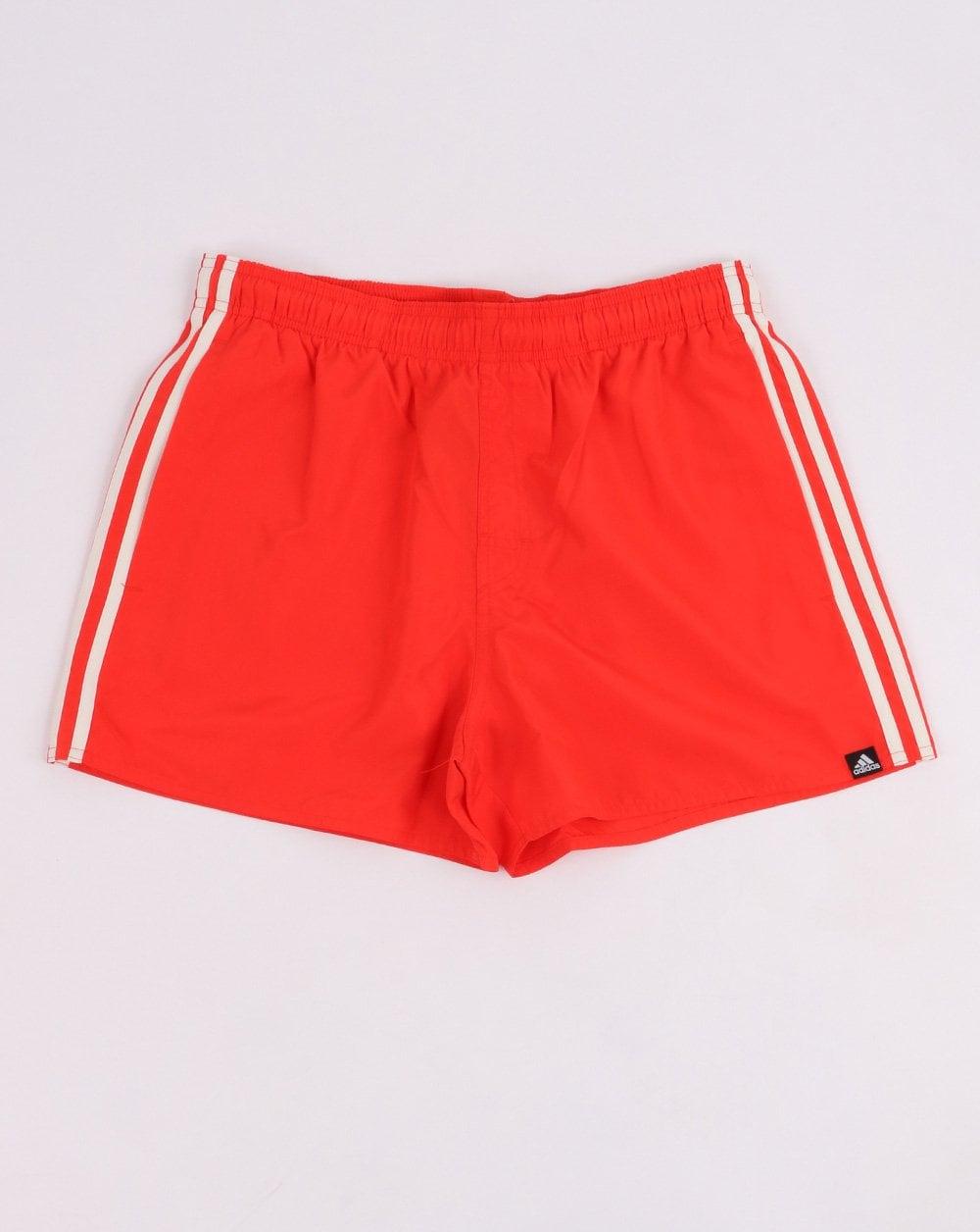 445aafa611120 Adidas Originals 3 Stripe Swim Shorts in Red | 80s Casual Classics