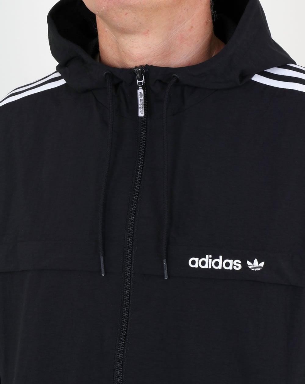 Mens adidas Originals 3-Stripe Hooded Top In Black