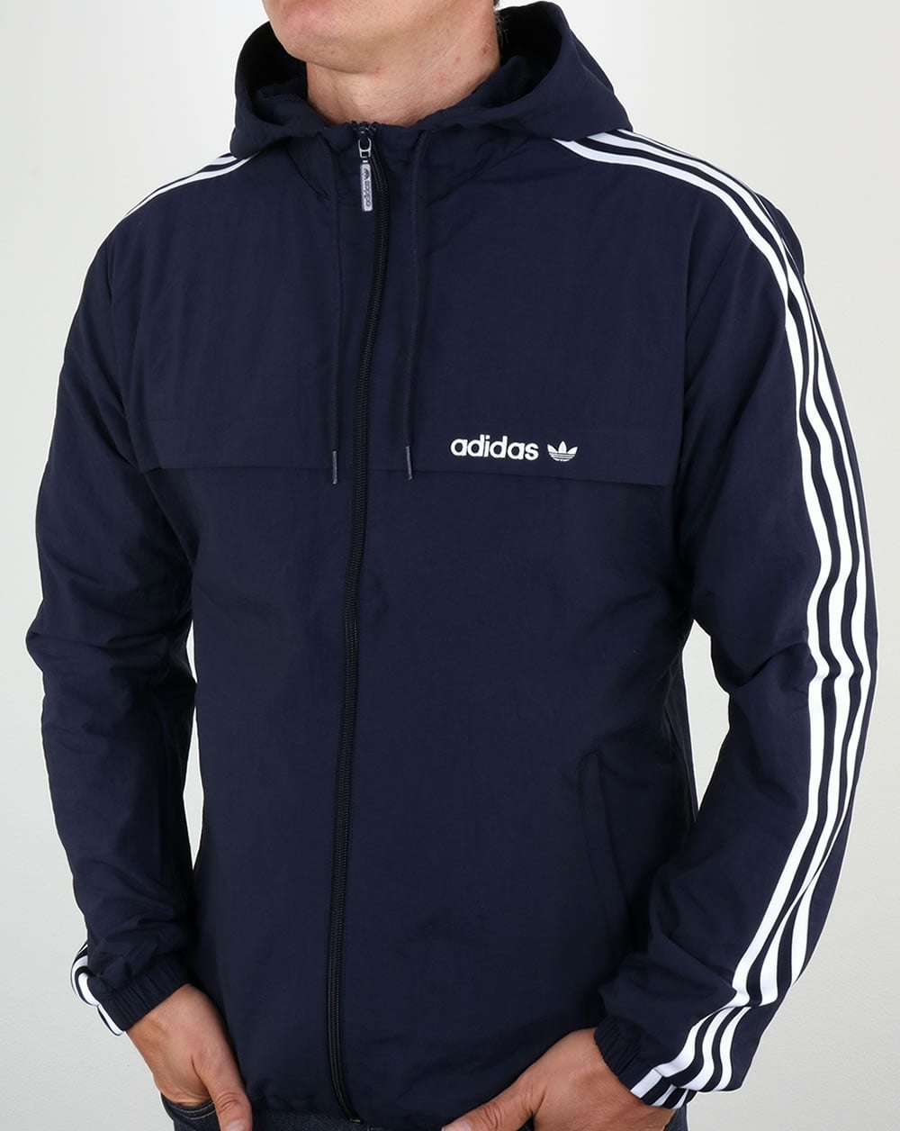 Adidas Originals 3 Striped Windbreaker Blue Jacket Rain