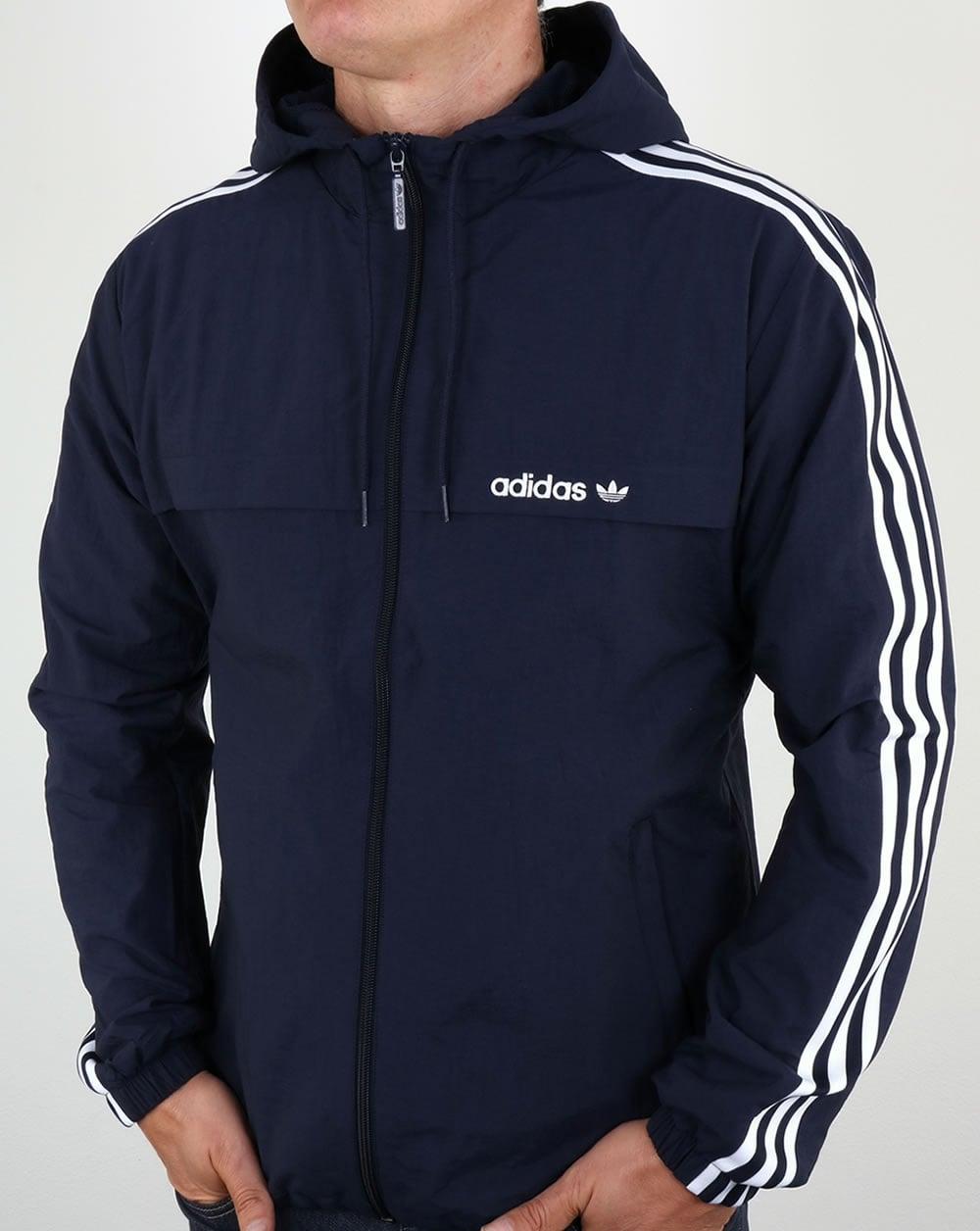 Adidas Originals 3 Striped Windbreaker Blue Jacket Rain