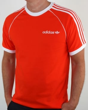 Adidas Originals 3 Stripes Cali T Shirt Bold Orange