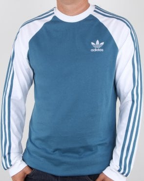 Adidas Originals 3 Stripes Long Sleeve T Shirt Blanch Blue