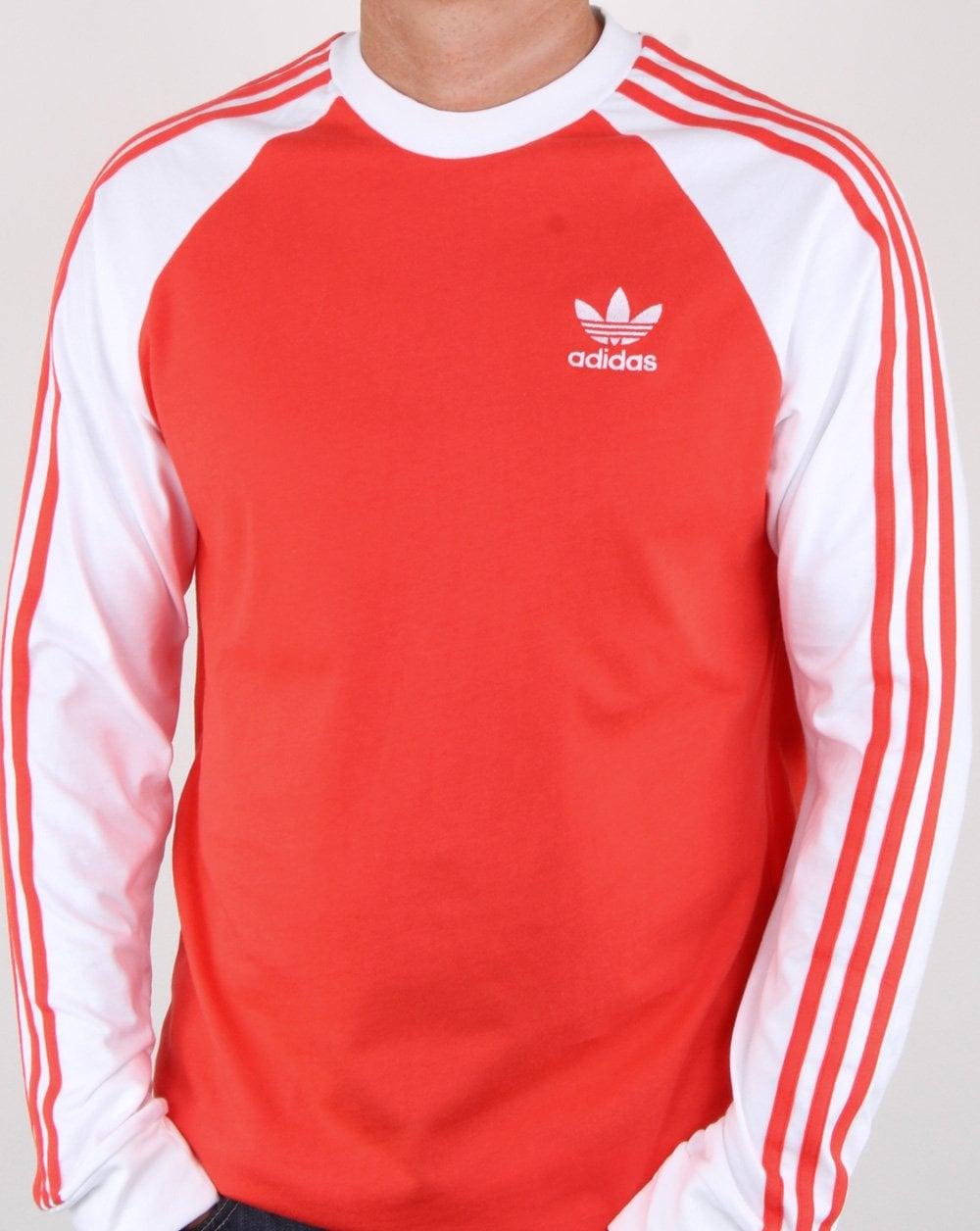 3de1b789 adidas Originals Adidas Originals 3 Stripes Long Sleeve T Shirt Bright Red
