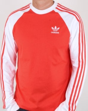 Adidas Originals 3 Stripes Long Sleeve T Shirt Bright Red